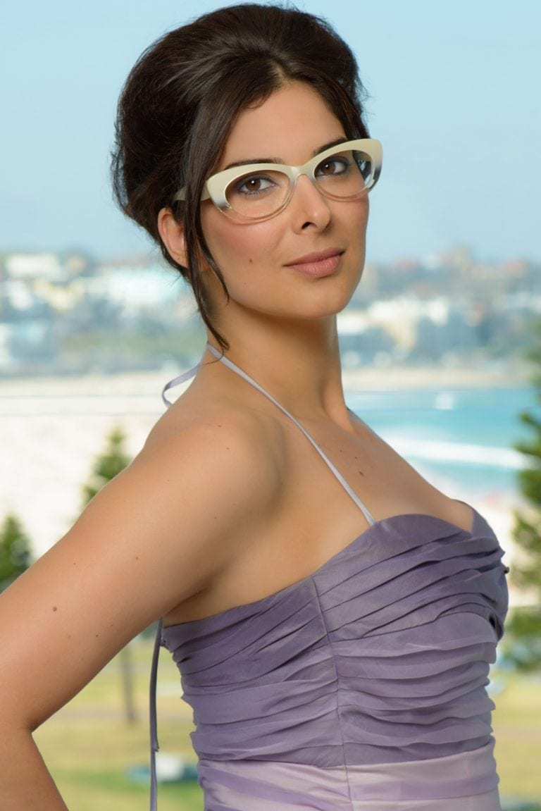 Advertising photo of female model wearing glasses