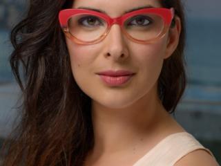 Advertising photo of female model wearing glasses